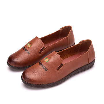 Women Casual PU Leather Round Toe Slip On Loafers