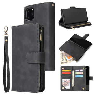 Luksus Flip PU lær glidelås lommebok Telefonveske Multi-kortspor beskyttelsesetui for iPhone 11 / Pro / Pro Max / XR