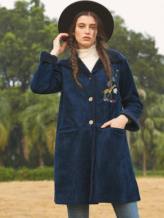 Suede Cartoon Embroidered Button Long Sleeve Coats