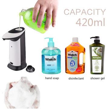 420 ml autoinduktion sæbedispenser IR Body Sensing Container med led belysning musik lyd