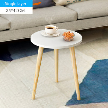 Single/Double Layers Mini Coffee Table Tea Table End Table Wooden Round Magazine Shelf Movable Bedroom Living Room Furniture For Office Home