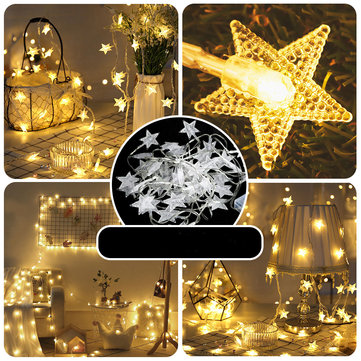 2M 3M 5M 6M 10M Battery Powered Warm White Fairy Garland LED Star String Light Wedding Party Home Decor