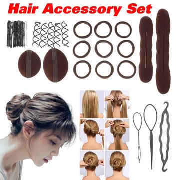 Women Girls Hair Styling Donut Former Foam French Magic Bun Maker DIY Tool Hair Accessories