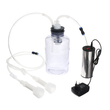 2L 2 Head Electric Milking Machine Stainless Steel Cow Goat Sheep Bucket Suction Milker Vacuum Pump Household Electric Goat Sheep Cow Milker