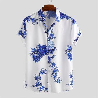 Mens Porcelain Floral Printed Shirts