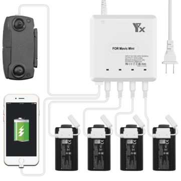 YX 6-in-1 Multi Charging Hub Intelligent Battery Remote Control Phone Charger for...