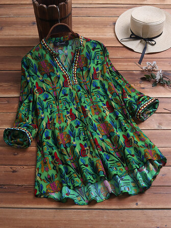 Vintage Ethnic Print V-neck Long Sleeve Plus Size Blouse