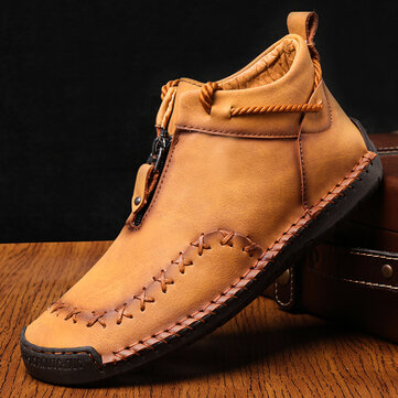 Men Hand Stitching Zipper Genuine Leather Casual Business Ankle Boots