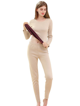 Women Thermal Underwear Long Sleeve Ultra-Soft 2-Piece Pajama Set
