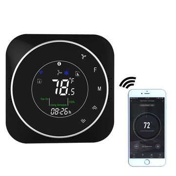 BHP-6000H-WiFi Black/White 24V WiFi Smart Heat Pump Thermostat Temperature Controller Smart Life/Tuya APP Remote Control Works with Alexa Google Home