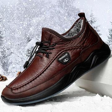 Men Winter Warm Plush Lining Elastic Lace Non Slip Casual Leather Flats