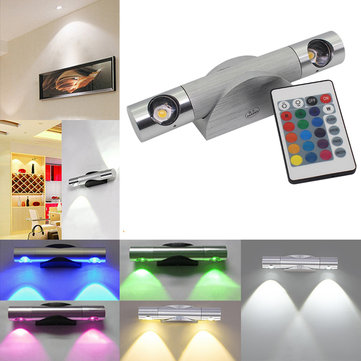 6W LED Wall Lamp Light with Remote Controller Rotatable Hallway Spotlight Bedroom Home Decor
