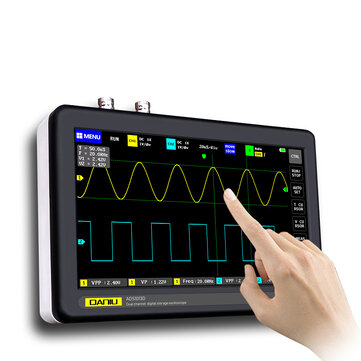 DANIU ADS1013D 2 Channels 100MHz Band Width 1GSa/s Sampling Rate Oscilloscope with 7 Inch Color TFT LCD Touch Screen