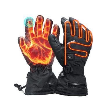 Găng tay làm nóng bằng điện 3.7V 3600mah Màn hình cảm ứng Xe máy chống nước Mùa đông ấm hơn Trượt tuyết ngoài trời với Dải phản quang an toàn