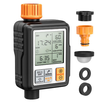 3 or 4 IP65 Waterproof Automatic Water Irrigation Timer Hose Timer Sprinkler Controller Timer Faucet Digital Watering Timer w or LCD Screen for Garden Lawn