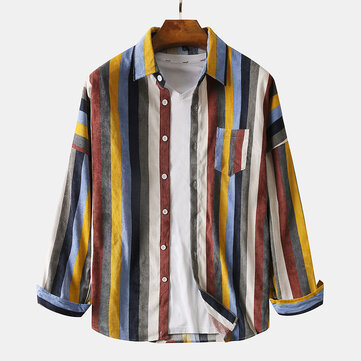 Mens Corduroy Colorful Stripe Chest Pocket Casual Long Sleeve Lapel Shirts