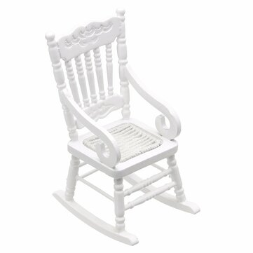 Dollhouse Miniature Furniture White Wooden Rocking Chair Hemp Rope Seat For Dolls House Accessories Decor Toys