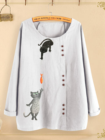 Botão Gato Dos Desenhos Animados Imprimir O-pescoço Blusa Casual Camisas