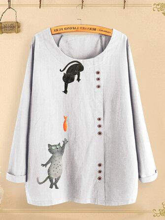 Kancing Kartun Cat Cetak O-neck Kemeja Casual Blus