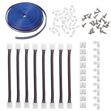 1 Set 5050 4Pin 10MM RGB LED Strip Light Connector Includes More Parts Fixed Clips Screws for DIY