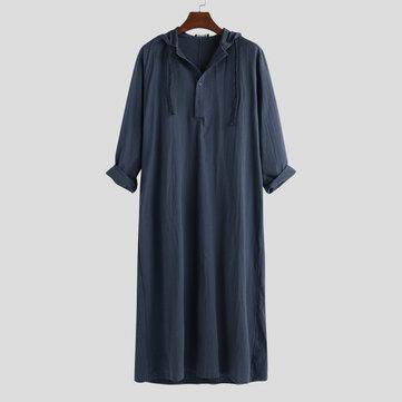 मेन्स विंटेज लॉन्ग ट्यूनिक स्टाइल शर्ट्स लूज कॉटन काफ्तान ड्रेस टॉप्स
