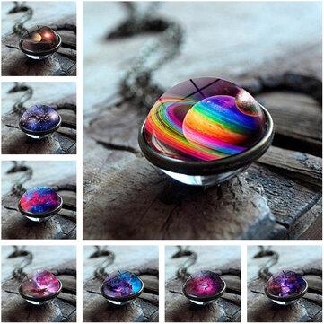 Collar de bola de cristal de doble cara geométrico de moda Solar System Universe Starry Colgante Collar