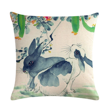 Chinese Watercolor Rabbit Printing Linen Cotton Throw Pillow Cover Home Sofa Office Seat Pillow Case
