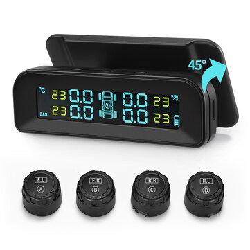 Universal C260 Sistema de Monitor de Pressão Dos Pneus TPMS Solar em Tempo Real Testador LCD Tela com 4 Sensores Externos de Vibração de Energia e Desligamento automático