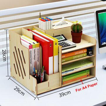 Large Wooden Storage Box File Holder, Desktop File Storage Box