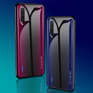 Bakeey Gradient Striped Shockproof Tempered Glass&Soft TPU Protective Case For Xiaomi Mi A3 / Xiaomi Mi CC9e