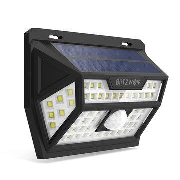 Blitzwolf® BW-OLT1 אנרגיה סולארית 62 לד PIR חיישן תנועה קיר אור זווית רחבה עמיד למים למנורת אבטחת שביל בחצר גן