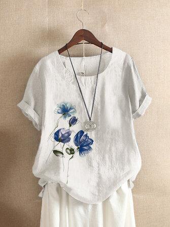 Ink Print O-neck Short Sleeve Summer Button T-shirts