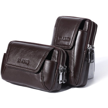 Men Genuine Leather Waist Bag Phone Bag For Outdoor Travel Daily