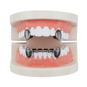 How can I buy  4 Colors Vintage Vampire Denture Set Metal Geometric Braces Canine Grillz Teeth Jewelry with Bitcoin