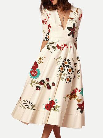 Chic Print V-neck Half Sleeve Dress