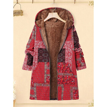 Contrast Color Patchwork Flower Print Thick Hooded Coats