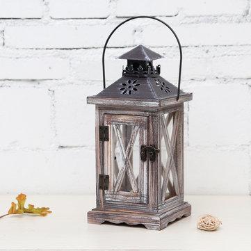 Vintage Tea Light Wooden Candle Holder Moroccan Hanging Iron Lantern Home Decor