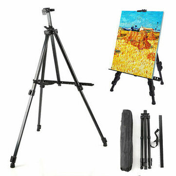 Easel Stand Artist Easels for Display Aluminum Metal Tripod Field Easel with Bag for Table_Top  Floor  Flip Charts Black Art Easels W_Adjustable Height 52_160CM for Back to School