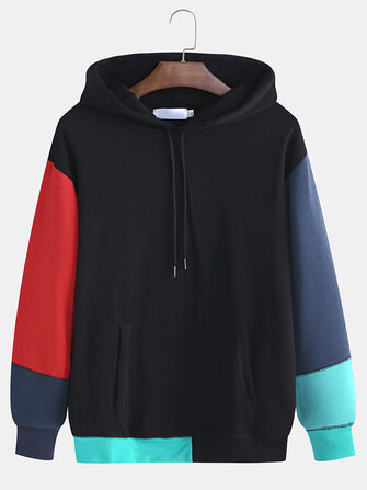 Men Color Matching Male Hooded Hit Color Loose Hooded Fall Shoulder Casual Sweaters