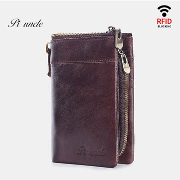 Men Genuine Leather Anti-Theft Vertical 15 Card Slots Short Coin Holder Wallet
