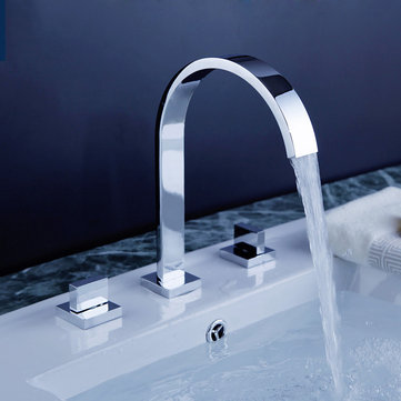 Deck Mounted Bathroom Basin Faucet 3 Hole Double Handle Hot And Cold Water Tap Bathroom Sink Faucets