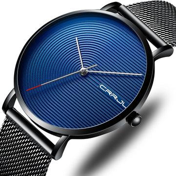 CRRJU 2164 Full Steel Strap Fashion Alloy Case Simple Blue Dial Men Watch Quartz Watch