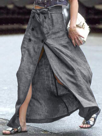 Casual Women Loose Button Down Slit Skirts with Belt