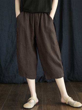 Wide Leg Solid Color Elastic Waist Plus Size Harem Pants