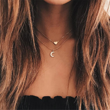 Trendy Multi-layer Necklace Gold Moon Peach Heart Pendant Chain Charm Necklace Retro Jewelry