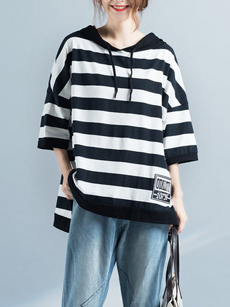 Large Size Women Loose Striped Top Half Sleeve Hooded T-Shirt