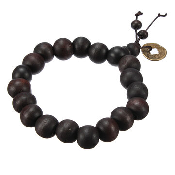 Lucky Black Wood Beads Coin Buddha Doa Gelang Unisex