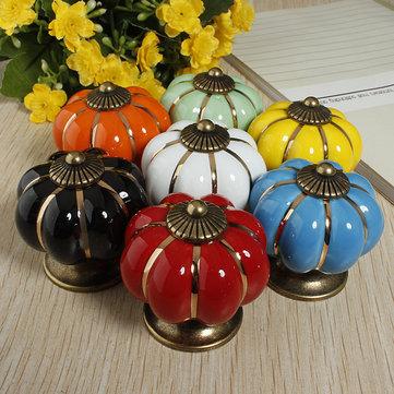 Ceramic Pumpkins Door Drawer Cupboard Pull Handles Knobs