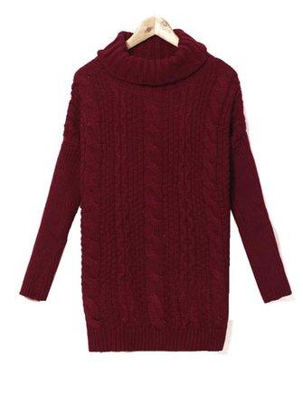 ज़ांज़ी महिला कछुए केबल बुना हुआ लंबी आस्तीन स्वेटर