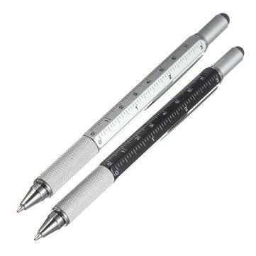 6 in 1 Metal Multitool Pen Handy Screwdriver Ruler Spirit Level